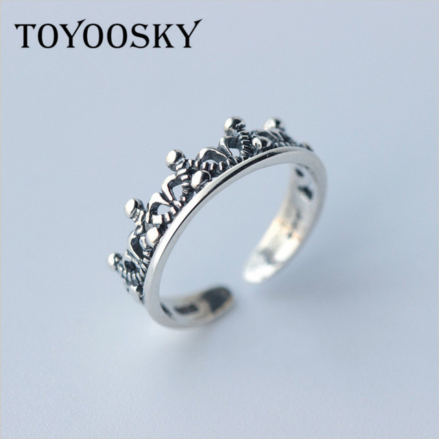 a6916258e440 TOYOOSKY 925 Sterling Silver Princess Queen Crown Wedding Rings Design For  Women Jewelry 2017