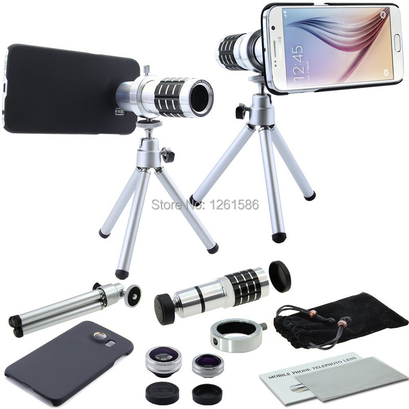 Samsung Galaxy S6 4 in 1 Camera Lens Kit includes 12x Black Telephoto Manual Focus Camera Lens with Tripod