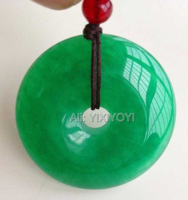 Beautiful Natural Green Jade 30mm Chinese Round Buckle Hollow Amulet Lucky Jade Pendant + Free Rope Necklace Fine Jewelry