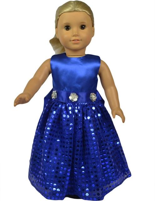 18 inch Fashion Blue Shining Belt Girl Doll Clothes Doll Dress for ...