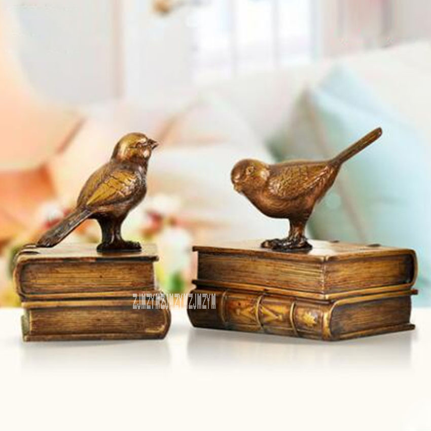 2PCS/Lot Pastoral Style Natural Resin Bird Office Desk Decoration Crafts KB025 Vintage Miniature Art Book Figurines Ornaments