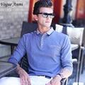 Vogue Anmi. Venta Caliente de La Nueva Marca de Moda de Los Hombres camisa de polo sólido color de Manga Larga Slim Fit Hombres Camiseta de Algodón Camisas de polo Ocasional camisas