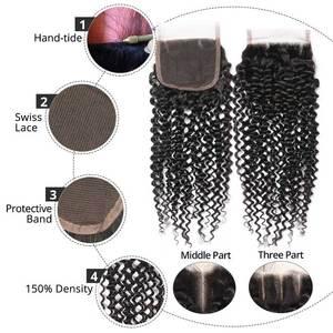 Image 5 - Saç ana kıvırcık demetleri ile kapatma perulu saç Remy dantel kapatma ile demetleri uzantıları İnsan saç kapatma ile 3 demetleri