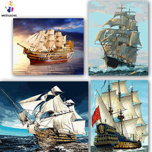 DIY colorings pictures by numbers with colors A ship on the sea picture drawing painting by numbers framed Home(China)