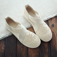 Summer Japanese small white shoes set foot lazy women's shoes Lok Lace straw fisherman flat canvas single shoes women