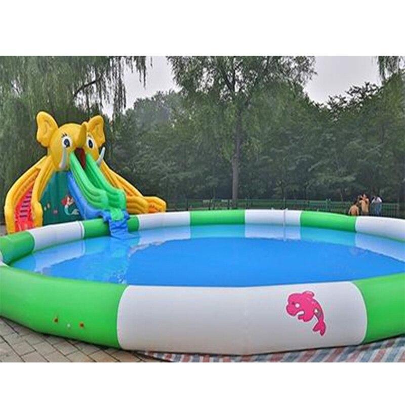 1dd7360bd Cheap Grandes toboganes de agua inflables de PVC para Parque Acuático juegos  de agua con piscina