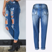 Купить с кэшбэком Autumn Ripped Jeans Female Casual Washed Holes Boyfriend Jeans For Women Torn Jeans Denim Pants