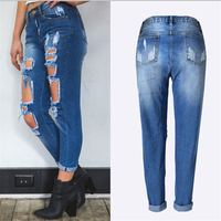 Autumn Ripped Jeans Female Casual Washed Holes Boyfriend Jeans For Women Torn Jeans Denim Pants