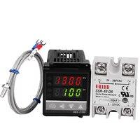 Набор ПИД цифровой регулятор температуры  регулятор температуры  регулятор  REX-C100 с SSR выходом + Термопара K + твердотельные реле SSR 40A