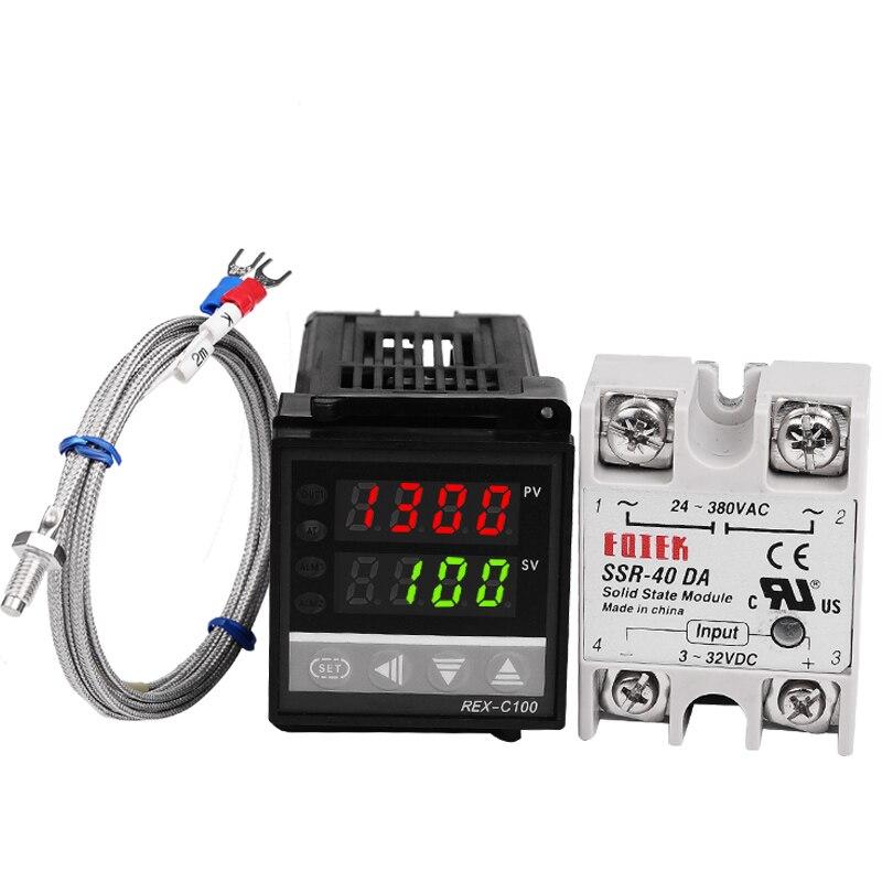 Set von PID Digitale Temperatur Thermostat Regler Controller REX-C100 mit SSR ausgang + Thermoelement K + Solid State Relais SSR 40A