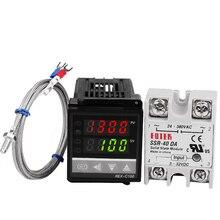 セットのpidデジタル温度サーモスタットレギュレータコントローラrex c100でssr出力+熱電対k +ソリッドステートリレーssr 40a