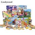 Candywood 60 unids piezas de dibujos animados Animal puzle caja de hierro niños juguetes de madera rompecabezas niños educación temprana juguete juguetes educativos