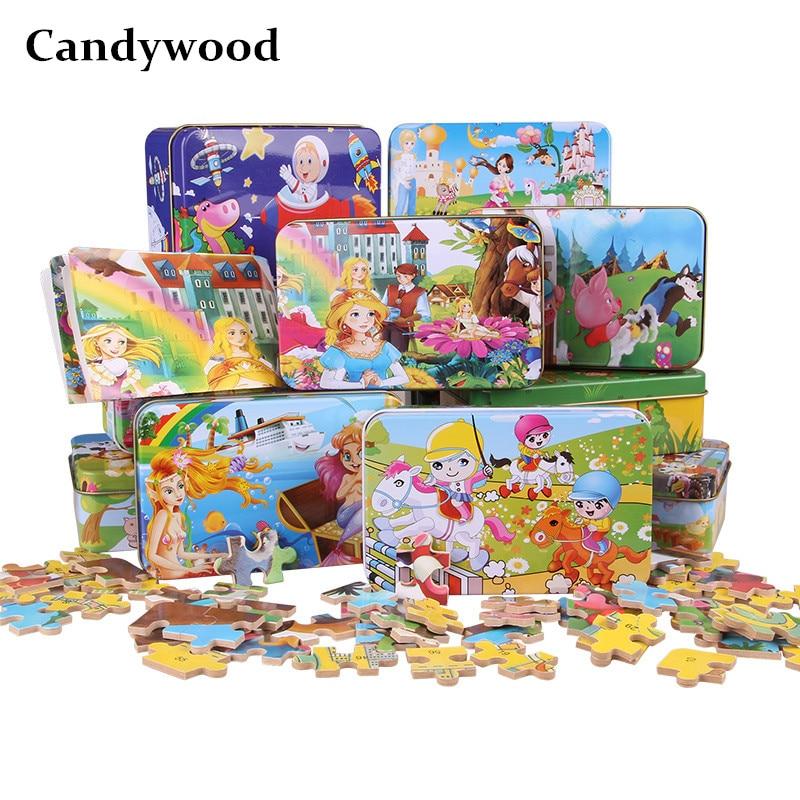 Candywood 60pcs Cizgi filmi Heyvan Puzzle Dəmir Qutusu Uşaqlar - Bulmacalar - Fotoqrafiya 1