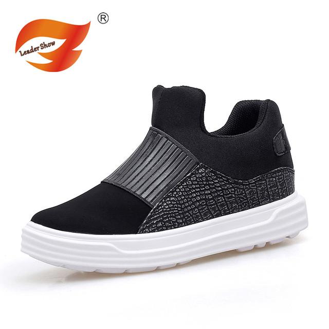 2016 El Más Nuevo Estilo Diseño Hombre Zapatos de Mujer Pisos Chaussure Moda Pareja Negro Cuero Artificial Al Aire Libre Para Caminar Zapatos Casuales