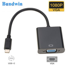 Bundwin USB סוג C כדי VGA מתאם כבל USB 3.1 סוג-C זכר ל-vga נקבה ממיר מתאם עבור macbook Chromebook פיקסל מחשב נייד(China)
