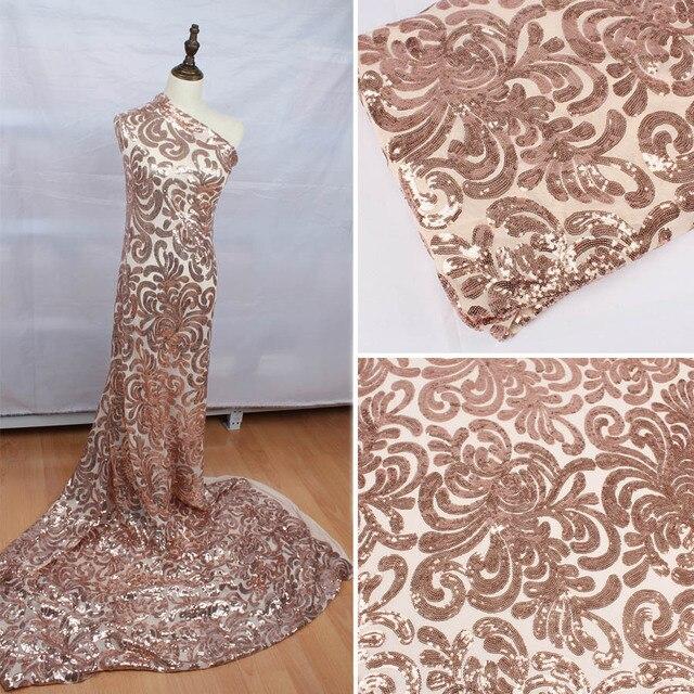 Блестящая розовая Золотая стрейчевая ткань с блестками и вышивкой, эластичная кружевная ткань для свадебного платья вечерние, мероприятия, ширина 50 дюймов, 1 ярд