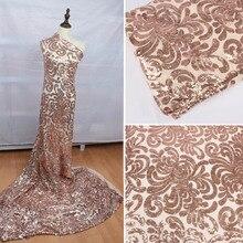 """Glitzy różowe złoto rozciągliwy cekinowy materiał mesh haft cekinowy elastyczna koronka do sukni ślubnej impreza impreza 50 """"szeroki 1 stocznia"""