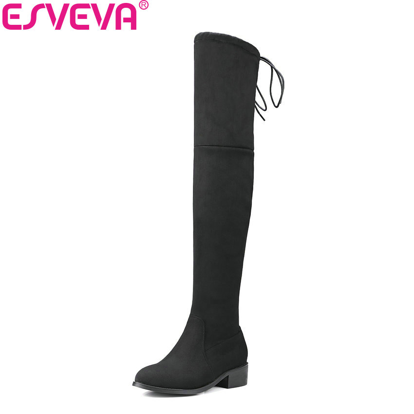 ESVEVA 2017 Square Low Heel Woman Over The Knee Boots Ladies Shoes Stretch Fabric Winter Women Motorcycle Boots Size 34-43 esveva 2017 western style flock women boots over the knee boots winter square high heel ladies lace up fashion boots size 34 43
