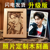 Customized Engraving Wooden Photo With Wooden Frame Handmade Carving Personality Picture Gift Special Souvenir 6ich 7inch 8inch