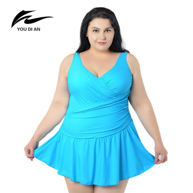 Plus Big Size Swimsuit Sexy Swim Suit Hot Plus Size Swimwear Skirt Women Solid Colors -4787