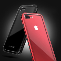 Aluminum Metal Bumper For Apple IPhone 7 Case Luxury Transparent Toughened Glass Cover Camera Protect Red