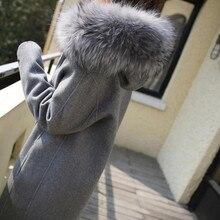 цена на Chic Women Wool Blend Coat Fur Collar Hooded Trench Zip Thicken Overcoat Outwear Long Gray E308