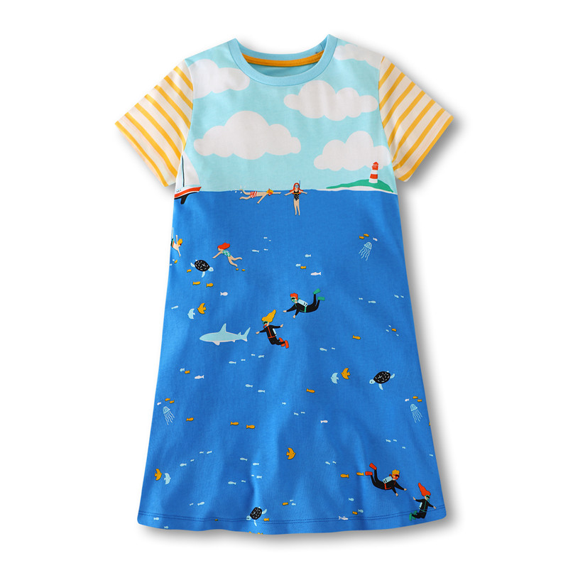 Baby girls new novelty cartoon dresses with Printed the sea and Swimmer kids new designed cute princess dress hot selling 2018 hot selling baby girls cartoon dresses with printed some dinosaurs kids new designed autumn clothing top quality girls dresses