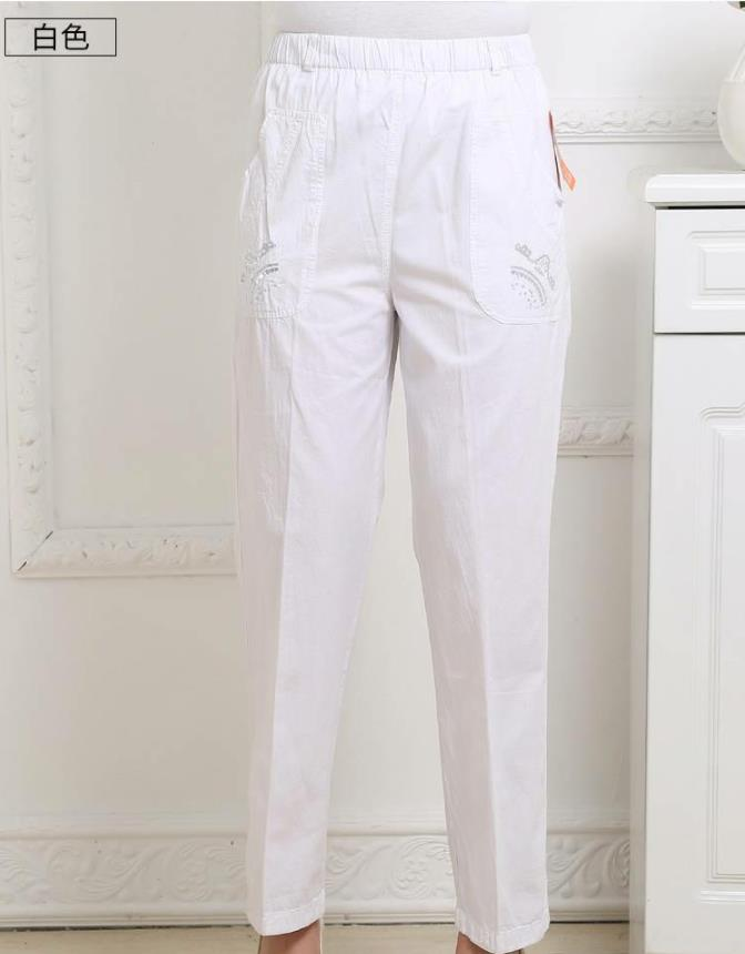 Woman Spring Plus Size High Elastic Waist Solid Straight Thin Cotton Ankle-length Pants Female Summer Flax Embroidery Trousers