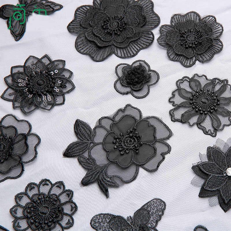 Высококачественная Черная кружевная вышивка, утюжок на заплатках для одежды из органзы, Цветочная бабочка, аппликации в полоску, сексуальные наклейки для одежды