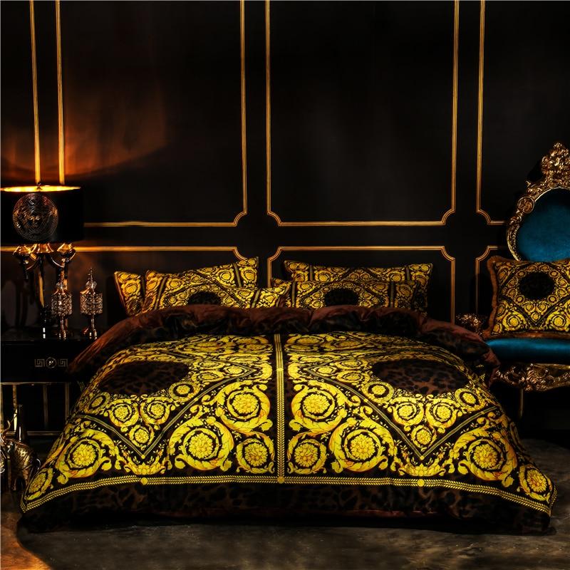 Luxury European Styel Winter Thick Velvet Flannel Palace Bedding Set Fleece Fabric Duvet Cover Bed Sheet/Linen Pillowcases 4pcs