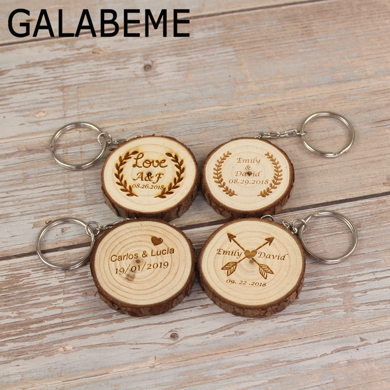 Galabeme Personalized Name Date Wood Tag Keychain Rustic Wedding Gifts Custom Engraved Key Chain Wedding Souvenirs For Guests