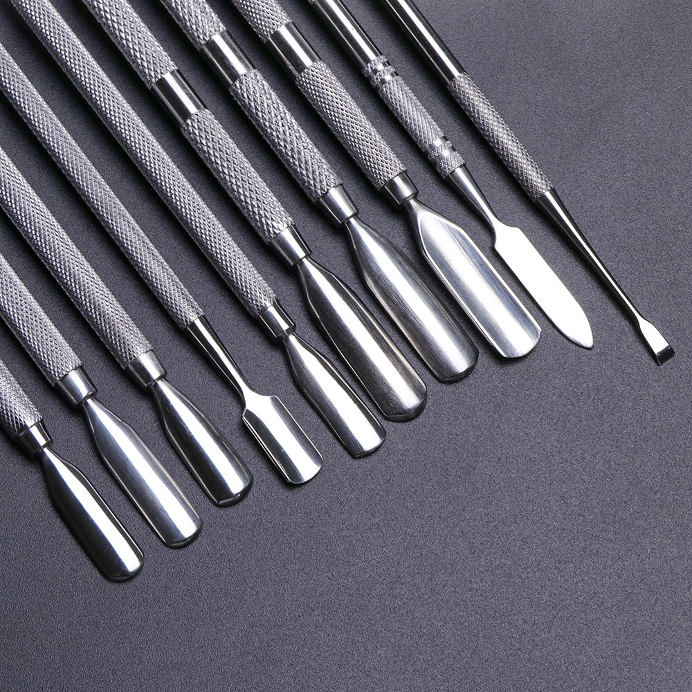 Image 4 - 1pcs Dual end Stainless Steel Nail Cuticle Pusher Spoon Remover Trimmer Dead Skin Manicure Pedicure Cleaner Nail Tool JI34 43-in Cuticle Pushers from Beauty & Health