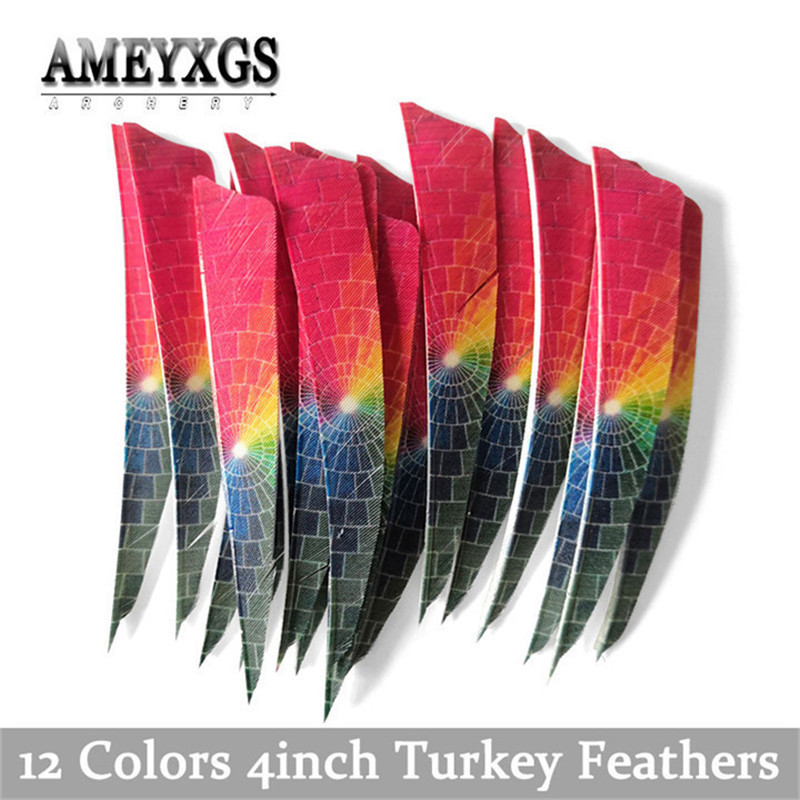 "50pcs 4/"" Shield Turkey Arrow Feathers Fletchings Carbon Wood Bamboo Arrows Vane"