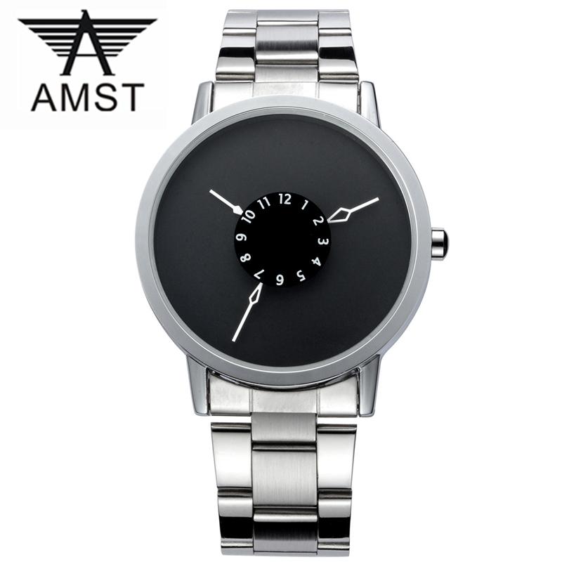 Prix pour 3ATM Imperméable À L'eau Marque AMST Quartz mouvement Relojs Horloge Nouveau Design Véritable Bracelet En Cuir montre Chaude de hommes et femmes montres