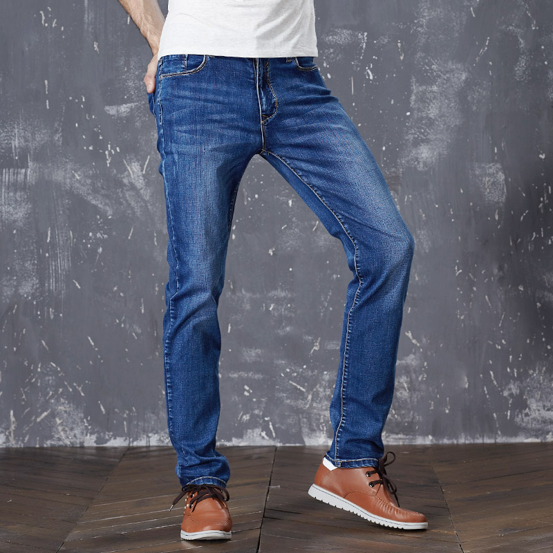 2018 New Mens Jeans Stretch Summer Spring Autumn Midweight Blue Denim Jeans Fashion Trousers Pants