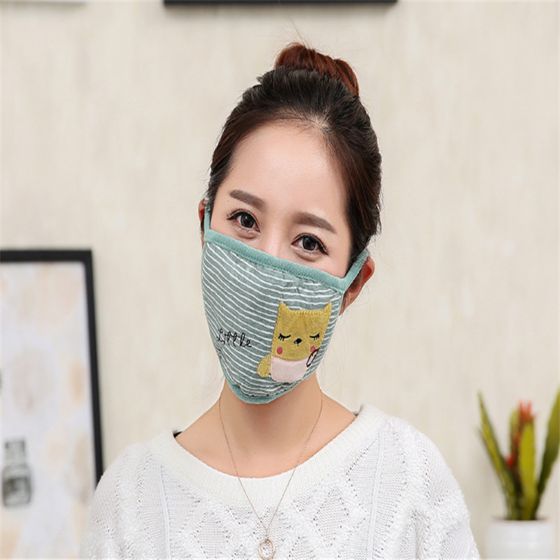 10pcs/Bags Autumn And Winter New Ladies Fashion Breathable Masks Cartoon Cute Owl Stripes Female Warm Dustproof Haze Masks