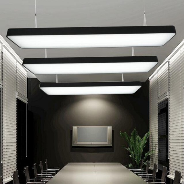 Office Foyer Lighting : Led strip office chandeliers conference room rectangular