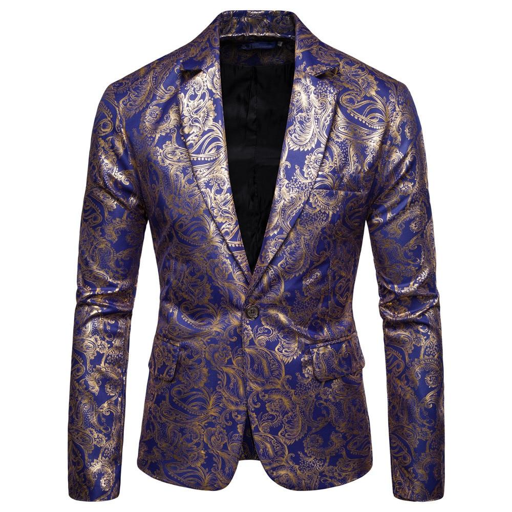 Formal Men's Blazers New Printed Men's Fashion Dashiki Cardigan Single Button Jacket Males Long Sleeve Printed Coat Blazers /PT