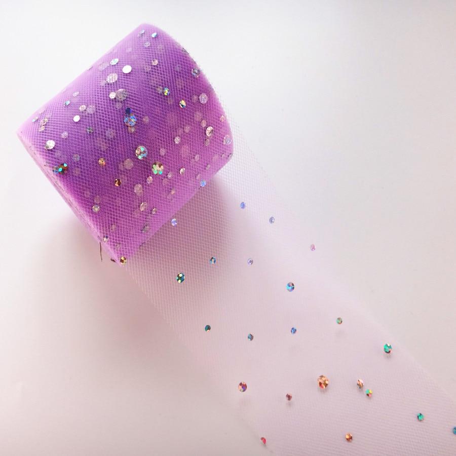 25 ярдов/рулон 6,5 см блеск рулон тюля с блестками Свадебные украшения кружева, тюль, платье-пачка «сделай сам» из органзы Baby Shower вечерние поставки