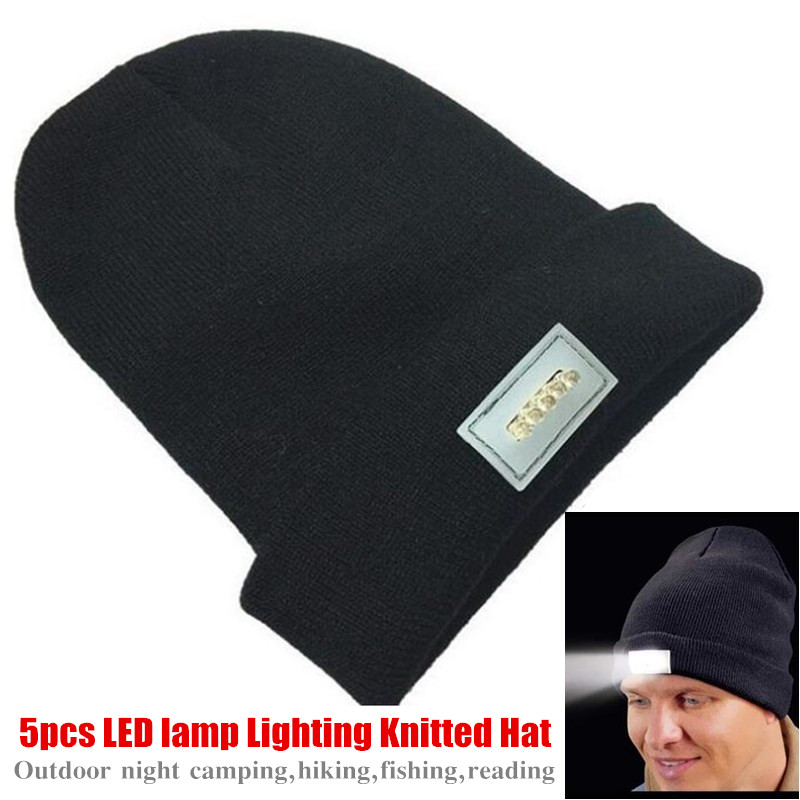 Running Caps 100p Unisex 5xled Lamp Lighting Beanie Wool Knitted Hat Winter Warm Cap Night Light Hiking Caps,cycling,camping,running,ski Hat A Plastic Case Is Compartmentalized For Safe Storage