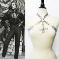 Men Women Unisex Handmade Leather Vinyl Transparent Satan Cross Halter Top Body Bondage Cage Sculpting Harness Corset Belt