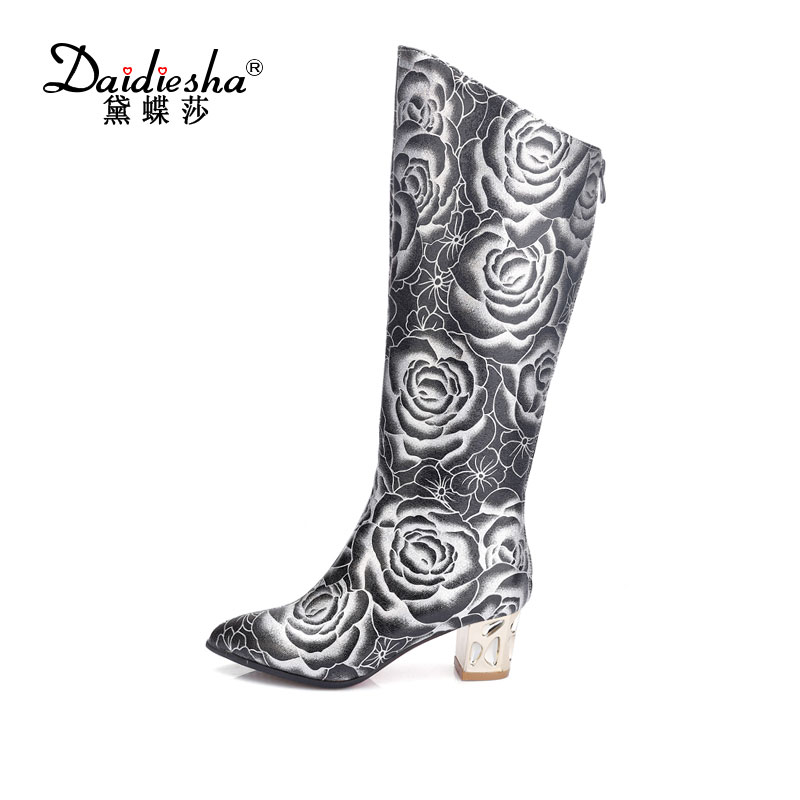 Daidiesha 2017 fashion women Knee High Boots flowers embroidery Printing thigh high boots med-heels Knee high Riding Boots