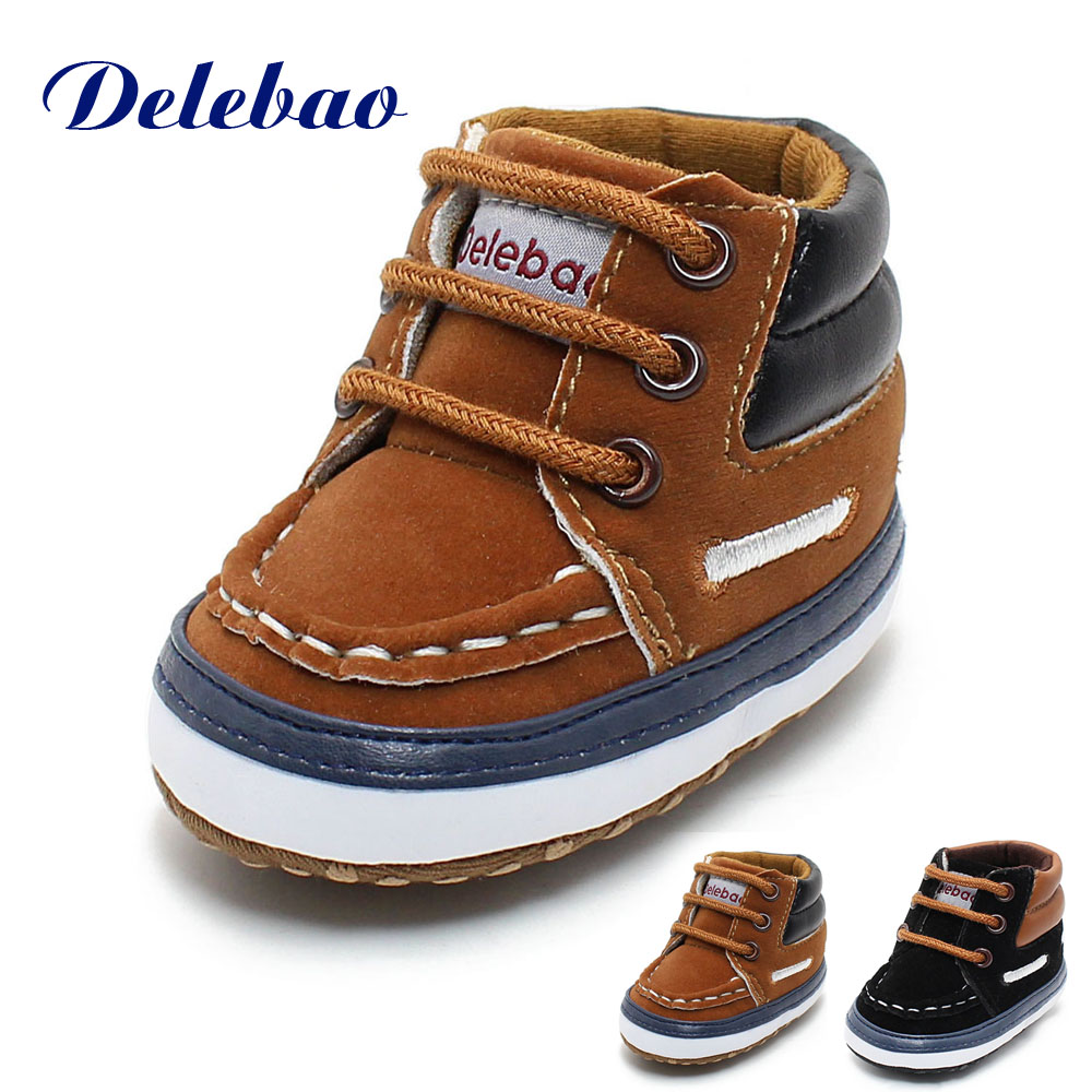 Delebao Winter Frosted Texture Soft Bottom Cotton Toddler Shoes By Hand Baby Shoes Cotton Shoes Keep Warm Lace Up First Walkers baby girls shoes toddler shoes rose lace soft bottom princess first walkers high shoes first walkers