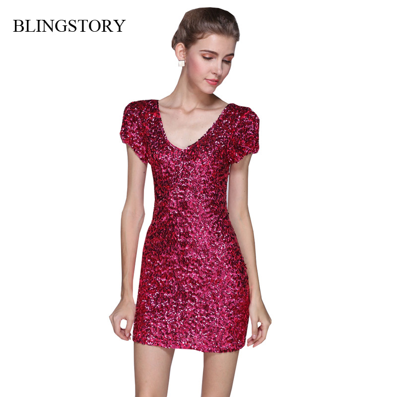 BLINGSTORY Europe and America short sleeve sequin women vestidos club european style dress evening party KR3022