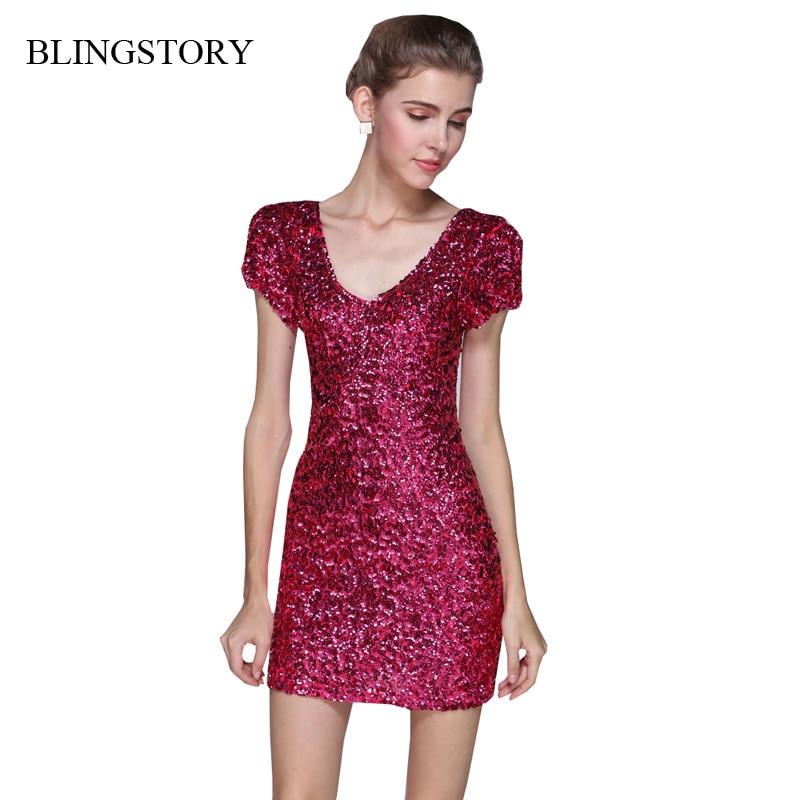BLINGSTORY Krátký rukáv flitry ženy vestidos klub Evropský styl Glitter šaty večerní párty KR3022