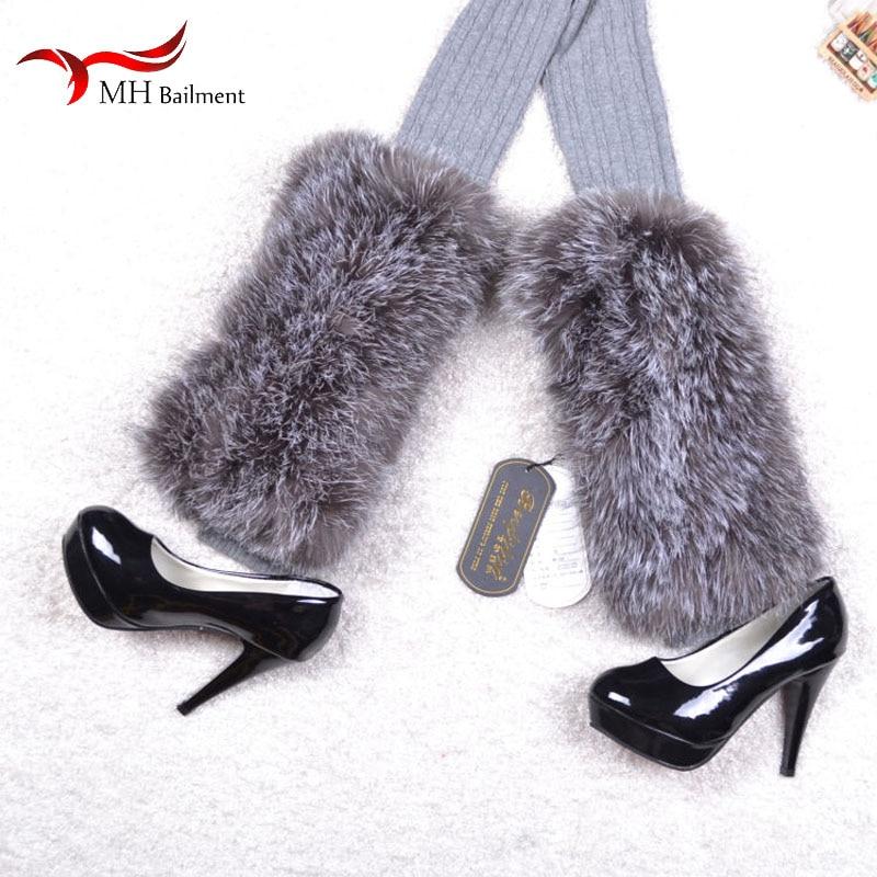 Autumn And Winter 100% Real Fox Fur Grass Leg Socks Set Thick Warm Fur Elastic Leggings Women Belt Fashion