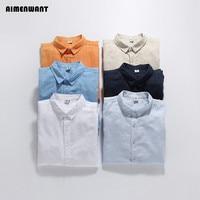 AIMENWANT Summer casual male white linen shirt men's plus size slim solid color long sleeve linen cotton shirts wholesales
