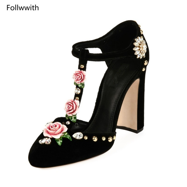 b169a5448a5 US $98.06 33% OFF|Floral Crystal Embellished Velevt Pumps Luxury Brand  Block High Heels Wedding Party Shoes For Woman Pink Red Black Roses  Sandals-in ...