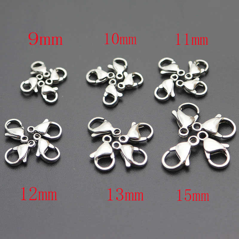 Wholesale 316 Stainless Steel Silver Lobster Clasps Claw Jewelry Hook Findings for Necklace Chain Bracelet