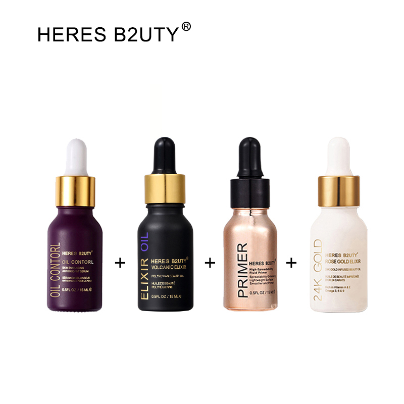 HERES B2UTY Amorce Maquillage Ensemble Licorne Essence + ÉLIXIR Huile + 24 k Fluide Amorce + 24 k Or Rose or Infusé Beauté Huile 15 ml 4 pcs/ensemble
